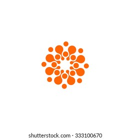 Abstract vector circle logotype. Orange unusual isolated chem logo. Virus icon. Orange sun. Flower.