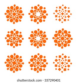 Abstract vector circle logotype set. Orange unusual isolated chem logo. Virus icon. Orange sun. Flower collection.