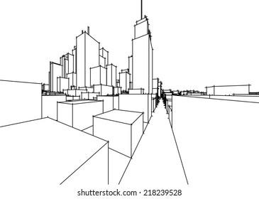 abstract vector cityscape sketch