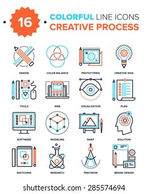 Abstract vector collection of colorful line creative proces icons. Design elements for mobile and web applications.