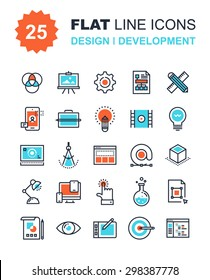 Abstract vector collection of flat line design and development icons. Elements for mobile and web applications.