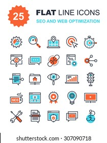 Abstract vector collection of flat line SEO and web optimization icons. Elements for mobile and web applications.
