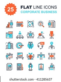 Abstract vector collection of flat line corporate business icons. Elements for mobile and web applications.