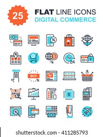 Abstract vector collection of flat line digital commerce icons. Elements for mobile and web applications.