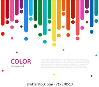 Abstract vector color background with empty place for text. Abstract colorful rainbow rain. Color lines with bright dots.