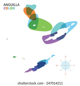 Abstract vector color map of Anguilla with transparent paint effect. For colorful presentation isolated on white.