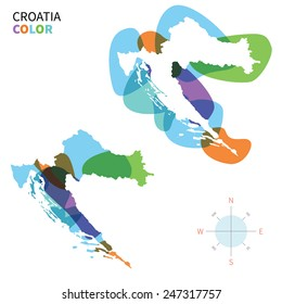 Abstract vector color map of Croatia with transparent paint effect. For colorful presentation isolated on white.