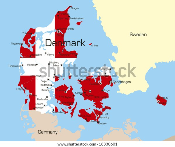 Abstract vector color map of Denmark country coloured by national flag