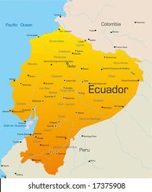 Abstract vector color map of Ecuador country