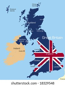 Abstract vector color map of Great Britain country coloured by national flag