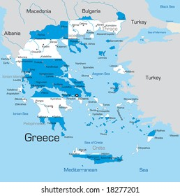 Abstract vector color map of Greece country coloured by national flag