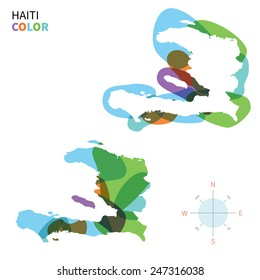Abstract vector color map of Haiti with transparent paint effect. For colorful presentation isolated on white.