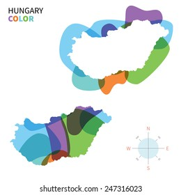 Abstract vector color map of Hungary with transparent paint effect. For colorful presentation isolated on white.