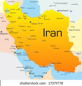 Abstract vector color map of Iran country