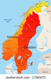 Abstract vector color map of Norway and Sweden country