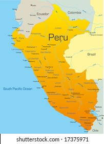 Abstract vector color map of Peru country