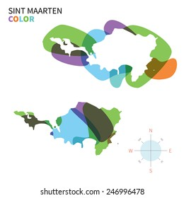 Abstract vector color map of Sint Maarten with transparent paint effect. For colorful presentation isolated on white.
