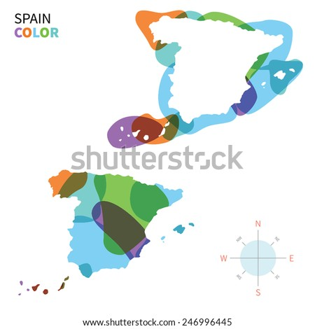 Map Of Spain To Color.Abstract Vector Color Map Spain Transparent Stock Vector Royalty