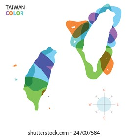 Abstract vector color map of Taiwan with transparent paint effect. For colorful presentation isolated on white.