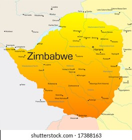 Abstract vector color map of Zimbabwe country