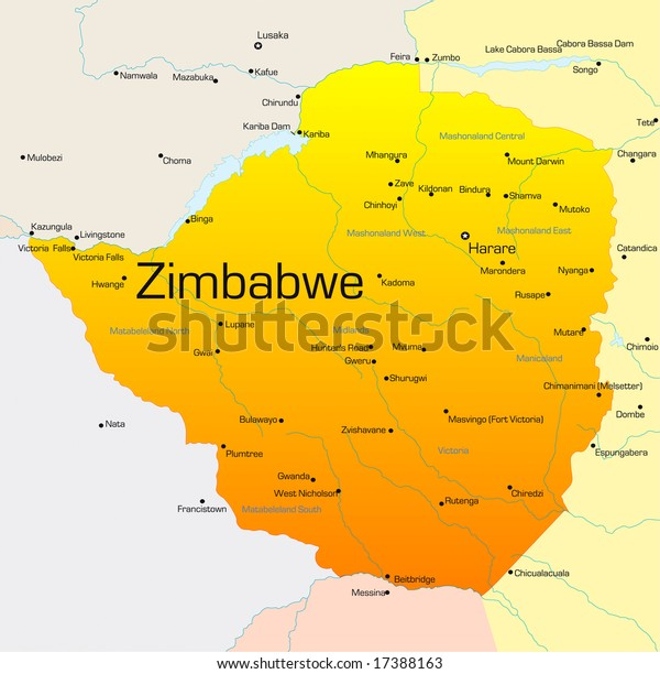 Abstract Vector Color Map Zimbabwe Country Stock ...