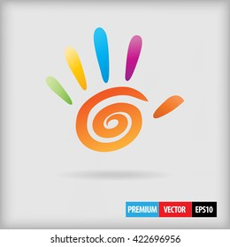 "Abstract vector colored hand with 5 fingers icon art illustration. Green, yellow. blue, orange, violet, purple colors used for ""give five"" or ""stop"" or ""hi"" gesture with artistic circle spiral element"