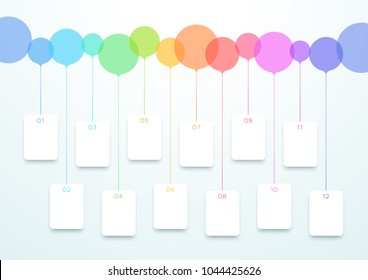 Abstract Vector Colorful Circles 12 Step Timeline Infographic