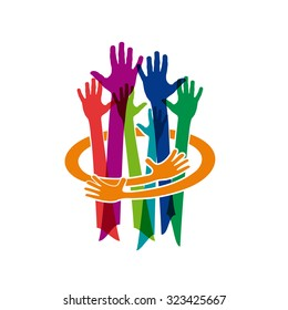 Abstract vector Colorful Teamwork. Make and protect a friendship