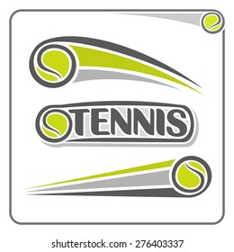 Abstract vector composition of logo for fun lawn tennis green ball flying on trajectory with inscription closeup on white background, lawn tennis club