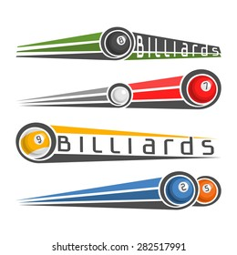 Abstract vector composition of logo for fun multicolored balls of billiards pool  isolated with inscription closeup on white background, billiards pool club