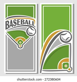 Abstract vector composition of logo for text, notes, title; poster banner, fun baseball ball flying on trajectory over field playground with inscription baseball club closeup, invitation ticket