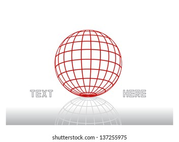 abstract vector concept with dimensional globe, grid ball and place for text isolated on white