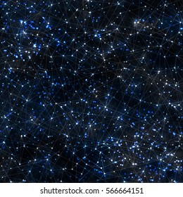 Abstract vector cosmic galaxy dark background with nebula, stardust, bright shining stars, and geometric pattern. Vector illustration.