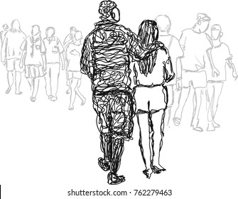 Happy Couple Sketch Images Stock Photos Vectors Shutterstock