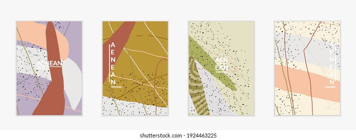 Abstract vector cover design with wavy motley shapes in natural colors. Hand textured with stripes and scribbles. Modern contemporary art. Poster or print template for sale promotion event.