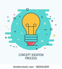 Abstract vector creative idea icon. Flat thin line sign concept ideation process design. Business icon of light bulb. Modern pictogram of innovation symbol. Creative think print.