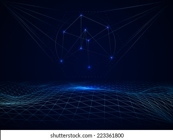 Abstract vector cyberspace polygonal grid waves with 3d cube
