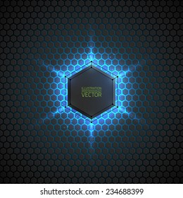 Abstract vector dark background with neon light. Vector background for web, applications, business. Vector abstract sci-fi illustration. Vector polygons