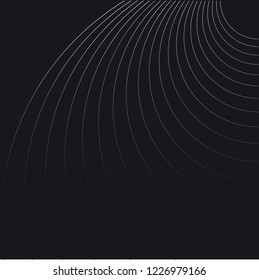 Abstract Vector Dark Background. Wave Optical Illusion. Black and White thin Lines. Clear linear template for web and graphic design.
