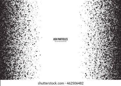 Abstract vector dark gray round ash particles on white background. Spray effect. Scatter falling black drops. Hand made grunge texture