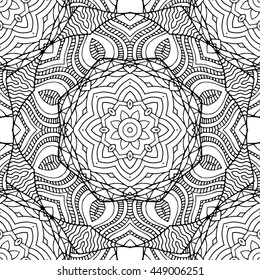 Abstract vector decorative ethnic mandala black and white seamless pattern. Adult coloring book page.