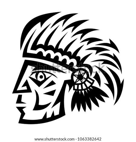 Abstract Vector Design Black Indian Head Stock Vector Royalty Free