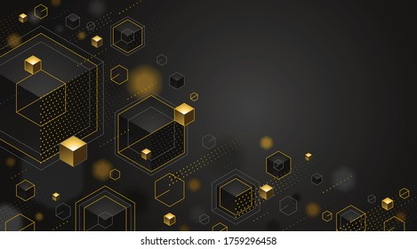 Abstract vector design with cluster of 3D cubes with golden elements vector design with copy space, luxury color style, jewelry classy elegant geometric design, shiny gold realistic abstraction.
