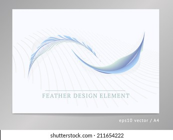 Abstract vector design composition element. For leaflet / brochure cover or web layout with two-colored soft curved feather ornament illustration. A4, eps10.