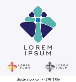 Abstract vector design element, icon, emblem design with mosaic shaped cross sign