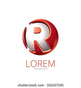 Abstract Vector Design Element - Metal R sphere logo template. Brand's label