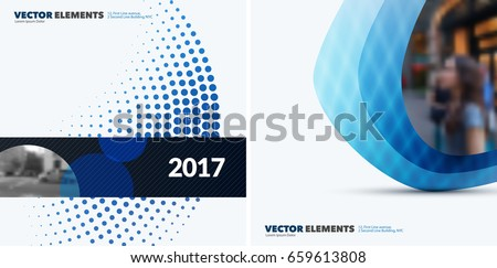 Abstract vector design elements for graphic layout. Modern business background template with blue rounds, circles, dots  for tech, pharmacy, health, ecology.