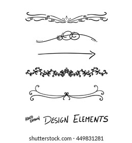 abstract vector design elements, set of beautiful fancy curls and swirls paragraph or text divider, underline designs, or black ink border lines. Wedding design elements, lace, bow, arrows, and dots.
