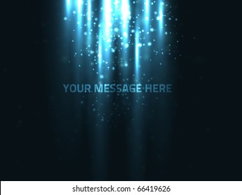 Abstract vector design. Rays of light are shining from top on text below with dust particles around it. Background has a dark blue texture.