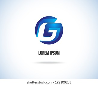 Abstract Vector Design Template. Creative Blue Concept Icon. Combination of Letter G
